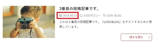 アーカイブページ 投稿日設定