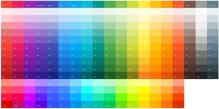 マテリアルデザインカラーのサイト画像
