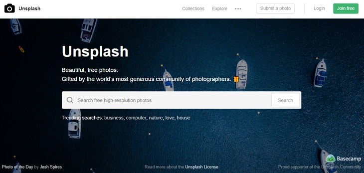 Unsplash サイト画像